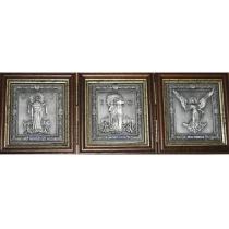 """Складень из 3 икон """"Покров,Спаситель, Ангел Хранитель"""""""