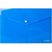 Папка-конверт А4 прозрачная на кнопке, синяя