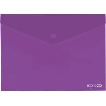 Папка-конверт А4 прозрачная на кнопке, фиолетовая