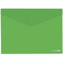 Папка-конверт В5 прозрачная на кнопке, зеленая(Е31302-04)