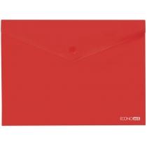 Папка-конверт В5 прозрачная на кнопке, красная(Е31302-03)