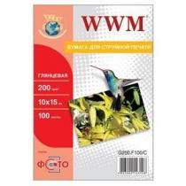 Фотобумага WWM 10x15см, глянцевая, 200 г/м2, 100 л.