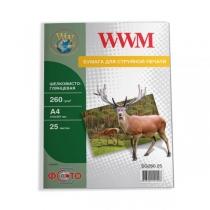 Фотобумага WWM A4, глянцевая шелковистая, 260 г/м2, 25 л.