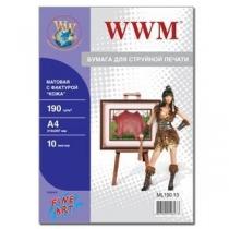 """Фотобумага WWM A4, матовая """"кожа"""", 190 г/м2, 10 л."""