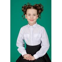Блузка для девочки белая с длинным рукавом 3534 рост 140 см