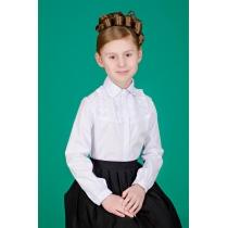 Блузка для девочки белая с длинным рукавом 3542 рост 122 см