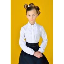 Блузка для девочки белая с длинным рукавом 3003 рост 146 см