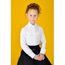 Блузка для девочки белая с длинным рукавом 3045 рост 152 см