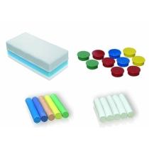 Стартовий набір для крейдяних дошок: губка для стирання, магніти 10 шт. (асорті), 2 комплекти крейди