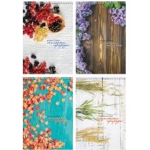 """Блокнот """"Рисунки природи"""", А5, верхняя спираль, 80 лист.,  полноцветная обложка, офсет 65 г/м2, клет"""