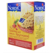 Галеты Nordic из овса с брусникой, 300г