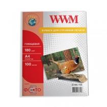 Фотобумага WWM A4, глянцевая, 180 г/м2, 100 л.