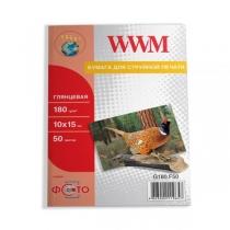 Фотобумага WWM 10x15см, глянцевая, 180 г/м2, 50 л.