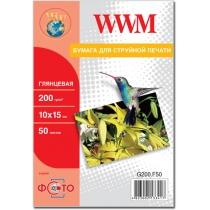 Фотобумага WWM 10x15см, 200г/м2, глянцевая, 50 л.