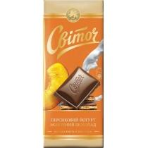 Шоколад молочный Світоч Десерт вкус персик.йогурта