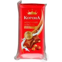 Шоколад Корона молочный с целыми лесными орехами 90 г