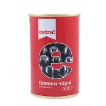 Оливки Extra! черные с косточкой, 300г