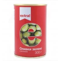 Оливки Extra! зеленые с косточкой 300г
