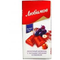 Шоколад молочный Любимов орех-изюм 85 г