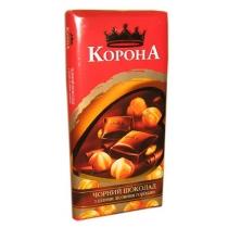 Шоколад Корона черный с целыми лесными орехами 90 г