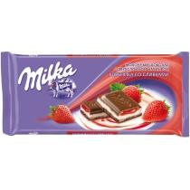 Шоколад Milka с начинкой крем-клубника 90 г