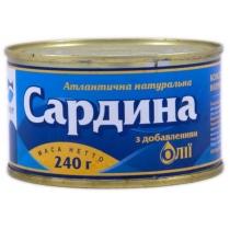 Сардина Аквамир атлантическая натуральная с д/м, 240г