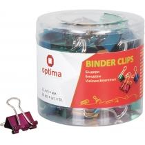 Биндеры для бумаги 15 мм Optima, цветные, в пласт. тубусе, 60 шт.
