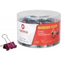 Биндеры для бумаги 25 мм Optima, цветные, в пласт. тубусе, 48 шт.