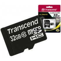 Карта памяти MicroSDHC 32Gb TRANSCEND Class 10 с SD адаптером