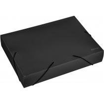 Папка-бокс пластикова А4, 60мм, на гумках, чорна