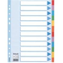 Разделители Esselte картонные цветные, А4, 12 разделов