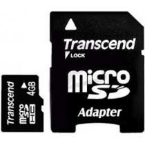 Карта памяти MicroSDHC 4GB TRANSCEND Class 4 с SD адаптером