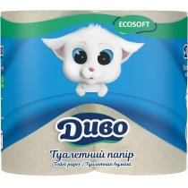 Папір туалетний 2 шари ДИВО макулатурний, 4 рулони, сірий