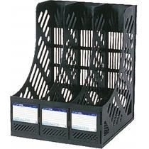 Лоток вертикальный сборный Economix, 3 отделения,  черный, 260х252х305