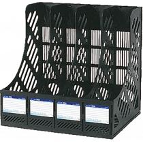 Лоток вертикальный сборный Economix, 4 отделения,  черный, 260х336х305