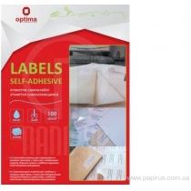 Етикетки самоклеючі, білі, А4, 100 арк/пач, на аркуші 21шт.