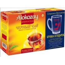 Чай Alokozay Tea 100 шт черный подарочный набор с прозрачной стеклянной чашкой