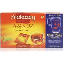 Чай Alokozay Tea 100 шт черный подарочный набор с прозрачной чашкой
