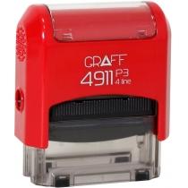 "Оснастка автомат., GRAFF 4911 P3 ""GLOSSY"" пласт., для штампа 38х14мм, червона"