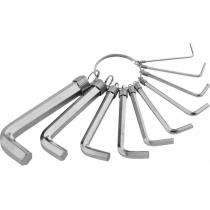 Набір ключів SPARTA HEX 1,5-10 мм CrV 10шт нікельований на кільці