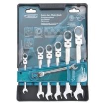 Набір ключів комбінованих з тріскачкою, 8 - 19 мм, 7шт., Шарнірні, CrV GROSS