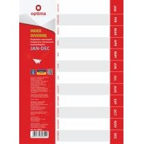 Разделитель листов А4 Optima, пластик, JAN-DEC, по месяцам