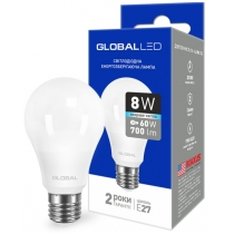 Лампа светодиодная A60 8W 4100K 220V E27 AL, Global Источники света