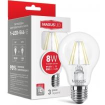 Лампа светодиодная A60 FM 8W 4100K 220V E27, MAXUS LED