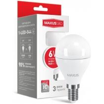 Лампа светодиодная G45 F 6W 4100K 220V E14, MAXUS LED