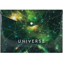 "Папка-конверт А4 непрозора на кнопці Optima ""Universe"", 180 мкм, асорті"