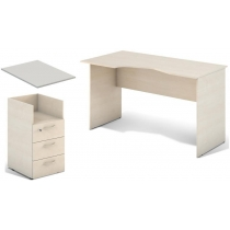 Комплект стол S1.22.13 вырез по праву, тумба S2.01.04 топ S7.00.06 Береза ??разобран