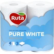 Папір туалетний 3 шари Ruta Pure White 4 рулони, білий