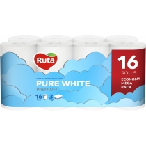 Бумага туалетная 3 слоя Ruta Pure White 16 рулонов, белая
