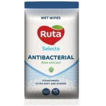 Салфетки влажные с экстрактом алоэ selecta antibacterial Ruta 15 шт